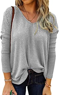Loyomobak Womens Loose Fit Long Sleeve Knit Waffle Solid Color V-Neck T Shirts