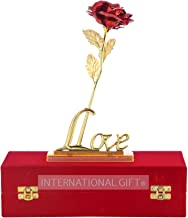INTERNATIONAL GIFT Red Rose with Golden Love Stand and Beautiful Red Velvet Gift Box