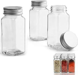 Aitsite Bocaux à Épices en Verre 120ml, Pot à Épices de Lot de 12 Pièces avec Couvercle à Vis, Brosse à Nettoyage, Étiquet...