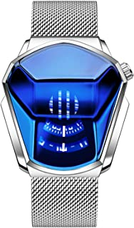 Lanceasy Orologio al Quarzo Stile Diamante per Uomo e Donna Resistente all'Acqua Fino a 30 m (White Steel-Black Surface A,...