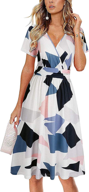 JINF Women's New Summer Printed,Casual V-Neck Design Temperament Mid Length Dress