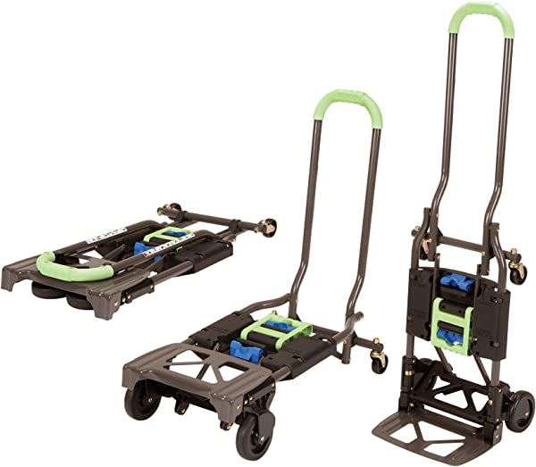 Cosco Shifter 300 Pound Capacity Multi Position Heavy Duty Folding Hand Truck And Dolly Green