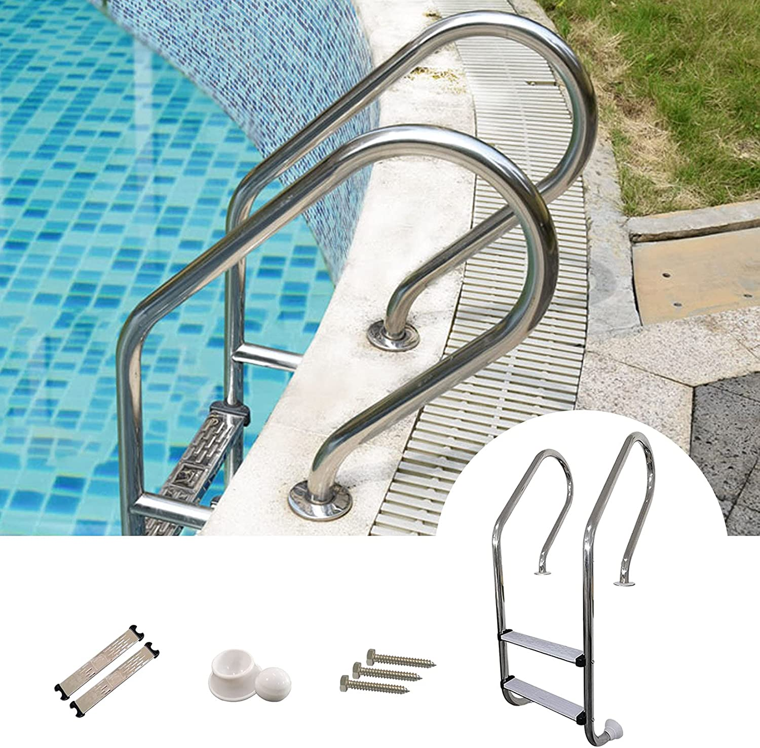 Handrail Railing Long Beach Mall 2-Step Stainless Steel Pool Swimmi Ladder low-pricing Step