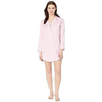 LAUREN Ralph Lauren Pointed Notch Collar Sleepshirt (Pink Stripe) Women