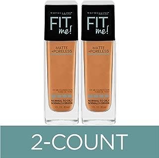 Maybelline Fit Me Matte + Poreless Liquid Foundation Makeup, Warm Honey, 2 COUNT Oil-Free Foundation