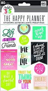 me & my BIG ideas The Happy Planner Life Quotes Stickers - Multi-Color & Gold Foil - Great for Projects, Scrapbooks & Albums - 5 Sheets, 80 Stickers Total
