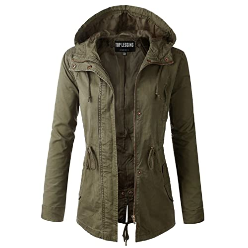 TOP LEGGING TL Women s Militray Anorak Parka Hoodie jackets with Drawstring 464061d663