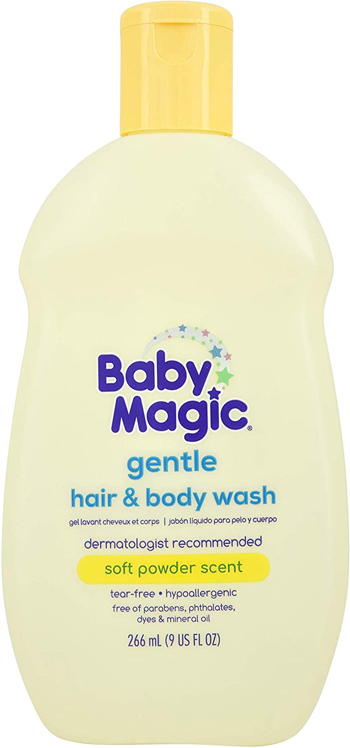 Baby Magic Gentle Hair & Body Wash | Tear-Free, Free of Parabens, Phthalates, Sulfates and Dyes, Calendula Oil & Coconut Oil, Soft Powder Scent, 9 Fl Oz