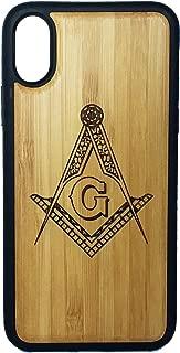 Freemasons Phone Case for iPhone XR by iMakeTheCase | Eco-Friendly Bamboo Wood Cover + TPU Wrapped Edges | Freemasonry Masonic Square & Compasses Symbol | Fraternal Fraternity Brotherhood