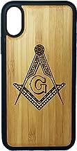 Freemasons Phone Case Cover for iPhone X by iMakeTheCase | Bamboo Wood Cover + TPU Wrapped Edges | Freemasonry Masonic Square & Compasses Symbol | Fraternal Fraternity Brotherhood