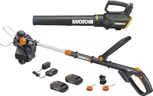 Worx WG930 20V 10 无绳调整器涡轮鼓风机组合套件 2 节电池和 1 个小时充电器