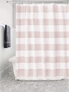 """iDesign Wide Stripe Fabric Bathroom Shower Curtain with Fringe Detail, 72"""" x 72"""", Blush and White"""
