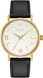 Bulova Classic Quartz Mens Watch, Stainless Steel with Black Leather Strap, Gold-Tone (Model: 97A149)
