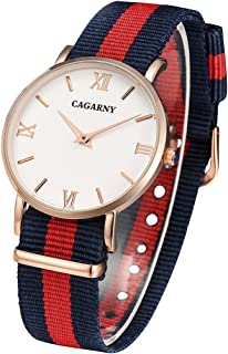 Morden 6813 Fashionable Personality Ultra Thin Rose Gold Case Quartz Wrist Watch with 3 Stripes Nylon Band for Women (Color : Red)