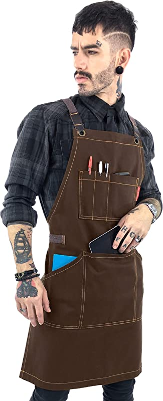 Essential Chocolate Brown Apron Cross Back With Durable Twill And Leather Reinforcement Adjustable For Men And Women Pro Chef Tattoo Artist Baker Barista Bartender Server Aprons