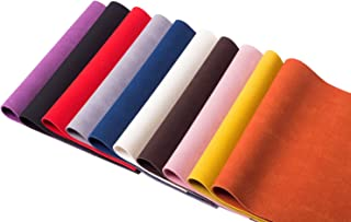 Meneng Solid PU Synthetic Leather Suede Faux Leather Sheets for Handicraft DIY Projects,Assorted Colors 10 Piece(9