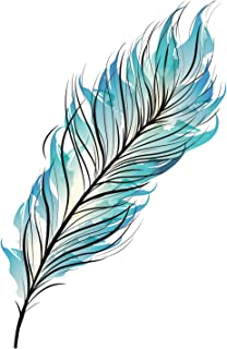 Blue Feather Temporary Tattoo - Feather Accessory - Feather Body Art - Set of 2