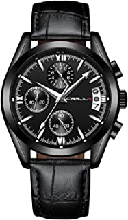 Watches for Men Chronograph Waterproof Sports Analog Quartz Watch Gents Leather Fashion Casual Dress Wrist Watch