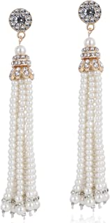 ArtiDeco 1920s Vintage Ohrringe Dangle Falpper Damen Perlen Ohrringe Braut Hochzeit Ohrringe Great Gatsby Kostüm Party Zubehör