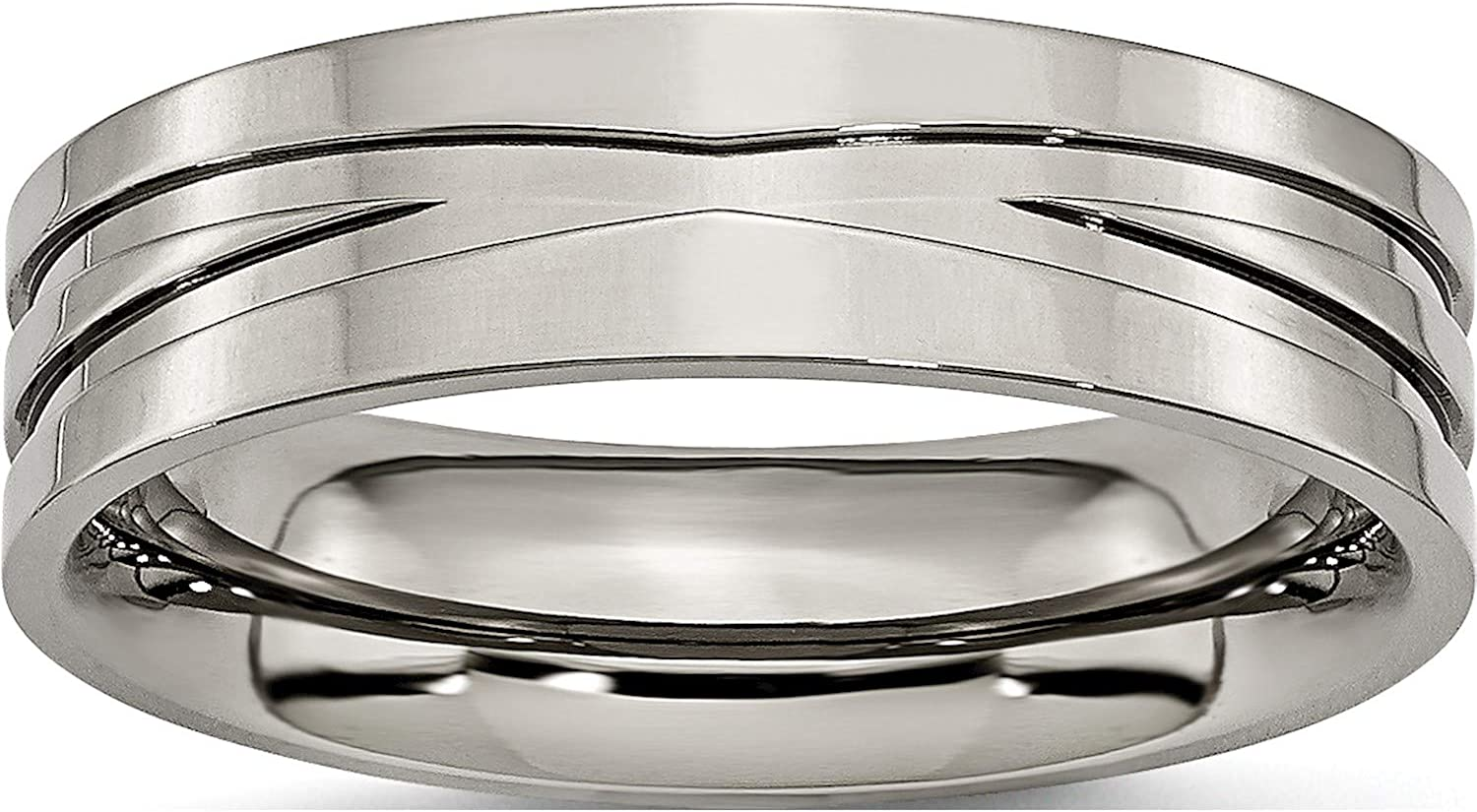 Jewelry By Max 60% OFF Sweet Pea Titanium Polished Band Width=6 Grooved 6mm Limited price