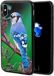 VEELFF Geschikt voor iPhone X Case,Mooie Blue Jay Bird Animal Design Slim Shockproof TPU Zachte Rubber Siliconen Cover Tel...