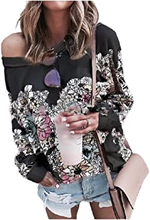 Zimaes Women Floral Printed Plus Size Sweatshirts Casual Fall Winter Tees Top