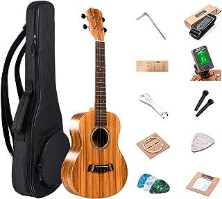 26 inch Tenor Ukulele Caramel Professional All Solid Acacia ukulele Kit Small Hawaiian Guitar ukalalee Beginner Pack Bundle Gig bag, Digital Tuner, Strap, Strings Set