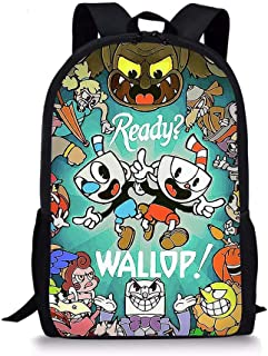 Cuphead Pattern Backpack, Lightweight Multi-Function College School laptop Bookbag 17 Inches