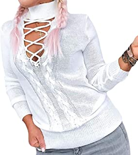 Women's Turtleneck Warm Knitted Long Sleeve Front Hollow Out Pullover Jumper Sweater