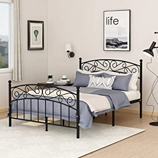 AUFANK Metal Beds Victorian Style Platform Bed Frame with Headboard Footboard Heavy Duty Slat No Box Spring Full Size Black