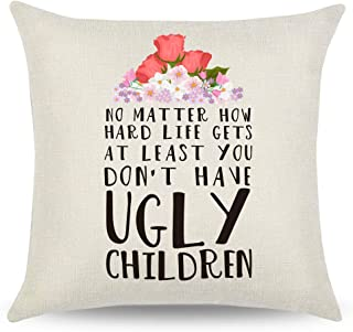 CARRIE HOME Mom Birthday Gifts Mom Decorative Throw Pillow Covers 18×18 Best Mom..