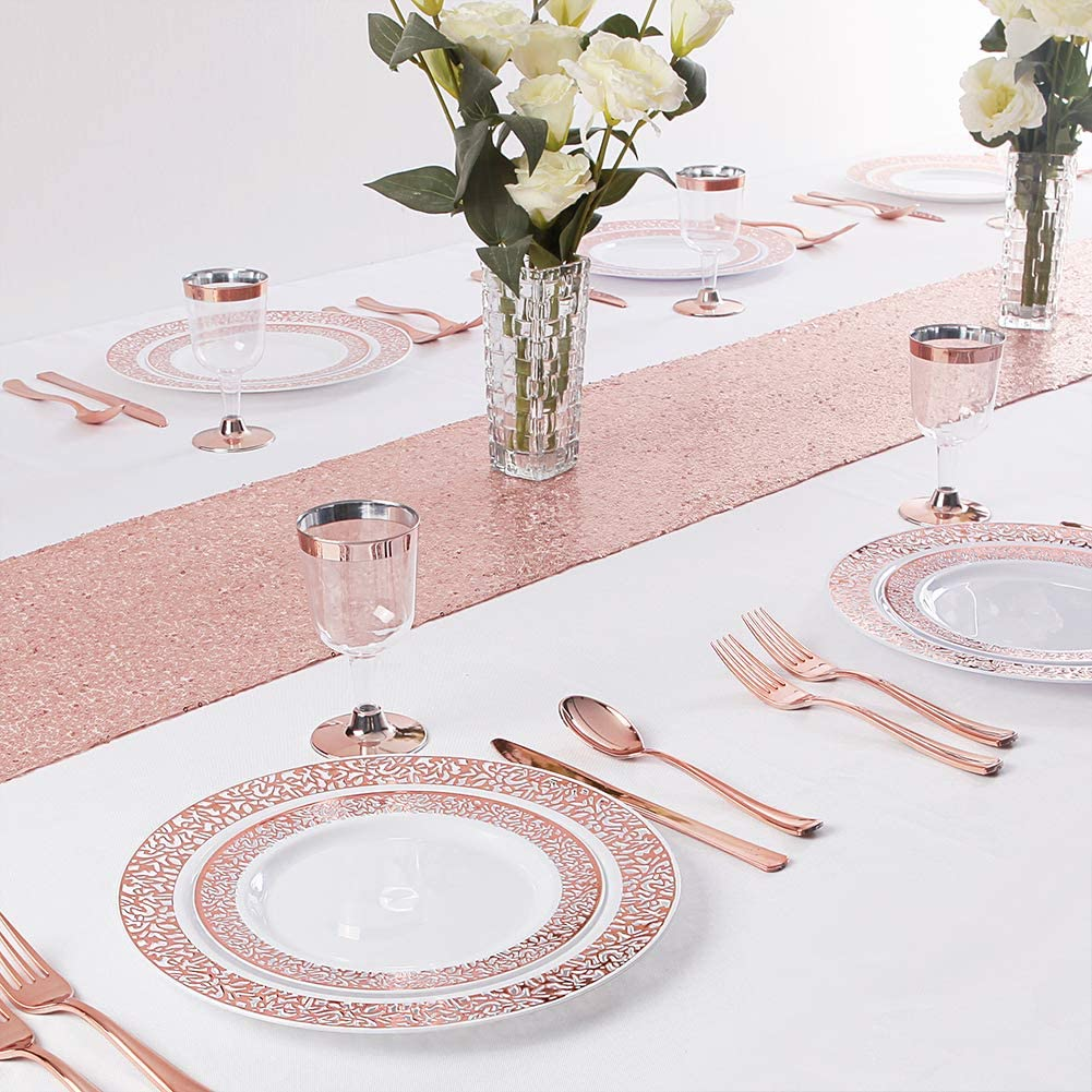 30 Spoons 30 Tumblers 30 Knives WDF 30Guest Clear Black Plastic Plates with Gold Rim/& Disposable Plastic Silverware /&Gold Plastic Cups include 30 Dinner Plates,30 Salad Plates,30 Forks