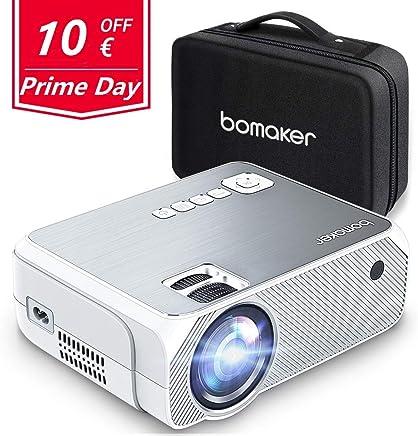 Proyector BOMAKER Resolución Nativa 1280*720p 3600 Lúmenes, Soporte Full HD 1080p, Mini Portátil Proyector GC555 con Estuche Portátil, Pantalla de 250 Pulgadas HDMI/ VGA/ AV/ USB/ SD