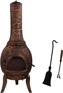 Maxstore Cheminée d'extérieur XXL en Alliage Fonte 50 kg, H 120 cm, Pelle et Crochet Inclus, Coloris : Noir et Bronze