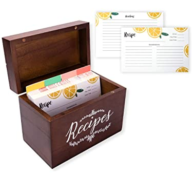Vintage 4x6 Wood Recipe Box with Cards and Dividers Gift Set | 100 Lemon Orange Double Sided 4x6 Recipe Cards & 12 Dividers | Great Gift for Mom Women Wedding Bridal Shower
