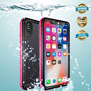 EFFUN iPhone Xs Waterproof Case, iPhone X Waterproof Case, Wireless Charging Support IP68 Certified Waterproof Shock/Snow/Dust Proof Case with Phone Holder, PH Test Paper, Stylus Pen, Floating Strap