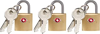 Lewis N. Clark Mini Brass Square TSA Lock + Padlock for Luggage, Suitcase, Carry On, Backpack, Laptop Bag or Purse - Perfe...