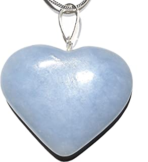 Perfect Pendant Charged Natural Angelite Crystal Heart Pendant + 20