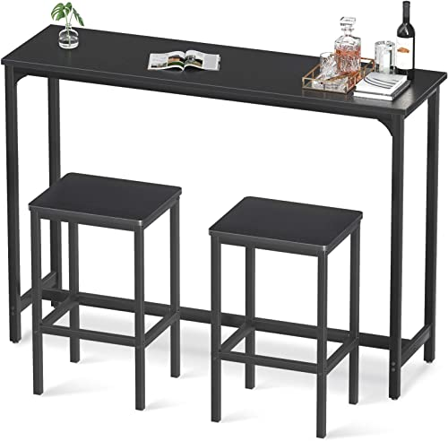 """2021 ODK outlet online sale 55"""" Bar Table Set, Bar Height Pub Table Set 39'' Tall, Rectangular High Top Kitchen & Dining Tables Set with Sturdy Legs wholesale & Easy-to-Clean Top & 15 Min Quick Assembly, Black outlet sale"""