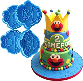Anyana 4pcs set Sesame Street Oscar Ernie Elmo Monster fondant plunger Cookie Cutter biscuit decorating stamp stamper impression Sugarcraft Cake Decoration pastry pie crust mold
