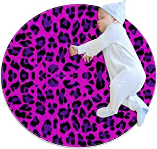 Rosröd leopard, barn rund matta polyester överkast matta mjuk pedagogisk tvättbar matta barnkammare tipi tält lekmatta