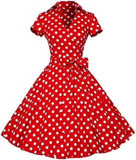 HODOD Women Vintage 50S 60S Swing Pinup Retro Lapel Bow Dots Mini Party Dress