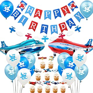 Airplane Party Decorations Time Flies Birthday Party Supplies Vintage Airplane and Clouds Garland Banner for Men Adult or Baby Shower