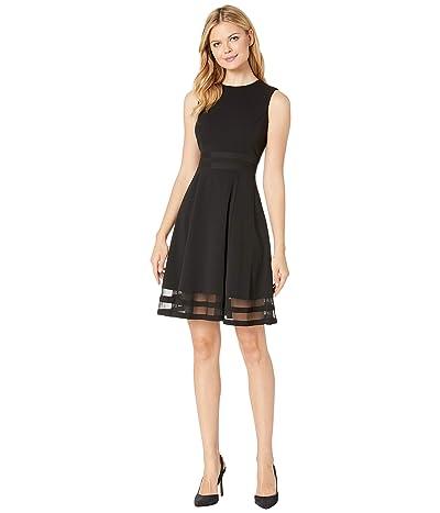 Calvin Klein A-Line Dress with Illusion (Black) Women