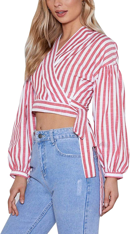 Striped Blouse Lantern Long Sleeve Crop Top Women V Neck Tie Slim Wrap Tops