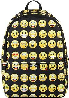 Hynes Eagle Printed Emoji Pattern Backpack (Black)
