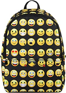 Hynes Eagle Backpack for Kids Emoji Pattern Backpack School Backpack Black