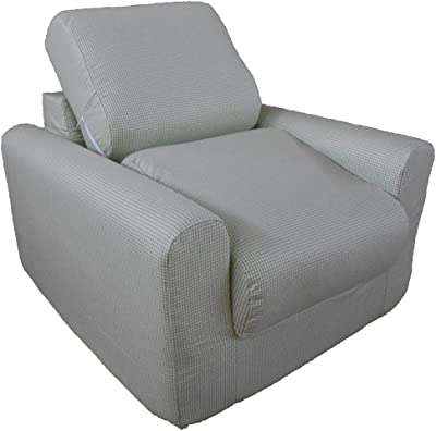 Fun Furnishings Chair Sleeper, Green Check