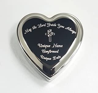 Stanley London Engraved Heart Shaped Jewelry Box (Personalized Baptism/Confirmation Gift) (Personalized Confirmation Box)