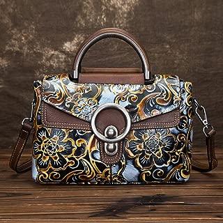 Fashion Leather Retro Handbag/Fashion Embossed Wiped Shoulder/Portable/Messenger Head Layer Cowhide Handbag (Color : Brown)
